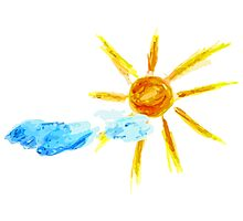 Hand Drawn Sun and Clouds 2 Photographic Print