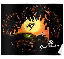 Perfil en palmeras Poster