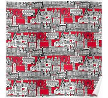 London toile red Poster