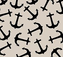 Cute Modern Navy Blue Nautical Anchors on Tan by Blkstrawberry