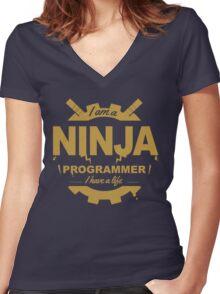 programmer : i'm a ninja programmer - gold Women's Fitted V-Neck T-Shirt