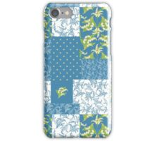 Lily-of-the-Valley Faux Patchwork Pattern on Blue iPhone Case/Skin