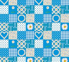Blue, White, Yellow Daisy Chains Faux Patchwork by Judy Adamson