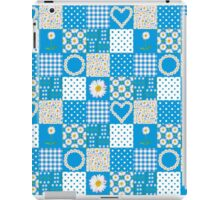 Blue, White, Yellow Daisy Chains Faux Patchwork iPad Case/Skin