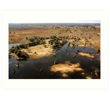 Bird's eye view of the Okavango Delta, Botswana Art Print