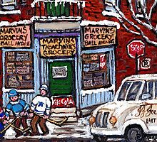 MONTREAL DEPANNEUR PAINTINGS ORIGINAL FOR SALE STREET HOCKEY GAME MONTREAL ART CITY LANDSCAPES by Carole  Spandau
