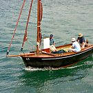 Wood Sailboat with Blood Red Sails - Golfe du Morbihan by Buckwhite