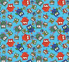Cute Quirky Owls on Blue Background by helikettle