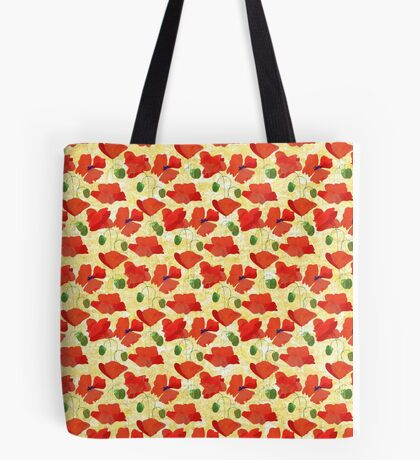 Chic Scarlet Field Poppies on Corn Yellow Tote Bag