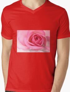 Pink rose on snow Mens V-Neck T-Shirt