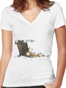 calvin and hobbes tree Women's Fitted V-Neck T-Shirt