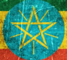 Vintage Aged and Scratched Ethiopian Flag Sticker