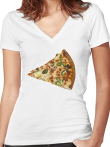 Spicy Pizza Slice Women's Fitted V-Neck T-Shirt