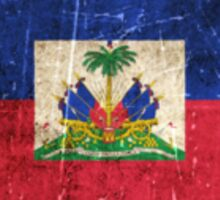 Vintage Aged and Scratched Haitian Flag Sticker