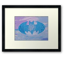 the blue batsignal Framed Print