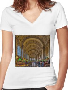 Boston Public Library Women's Fitted V-Neck T-Shirt