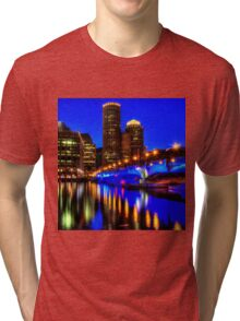 Night of Blue - Fort Point Channel, Boston Tri-blend T-Shirt