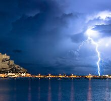 Lightning at Gorey Castle by tracesofwar