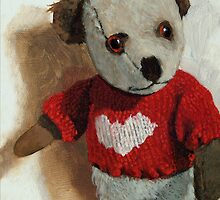 Frank -teddy bear painting by LindaAppleArt