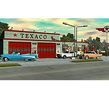 1960's Texaco Gas Station. Photographic Print