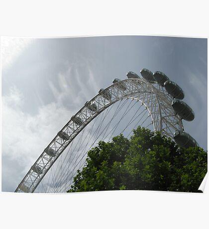 London Eye Against A Blue Sky Poster