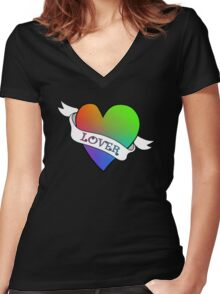 Lover's Heart (Black)  Women's Fitted V-Neck T-Shirt