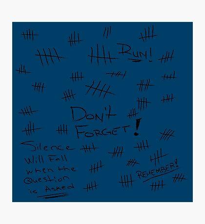 Silence - Black Marker - TARDIS Blue Photographic Print