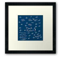 Silence - Chalk White - TARDIS Blue Framed Print
