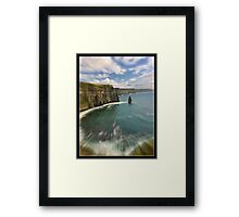 zoom cliffs of moher, county clare, ireland Framed Print