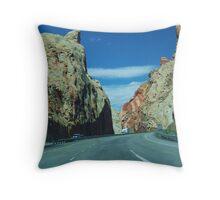 Drive through the mountain Throw Pillow