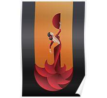 Art Deco geometric styled Spain Flamenco dancer Poster