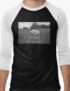 Sleeping White Horse Ranch Field Equine B&W Photo  Men's Baseball ¾ T-Shirt