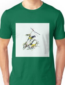 Vintage cute bright yellow and black birds Unisex T-Shirt