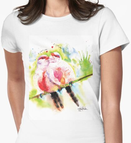 """Common Waxbill in love"" Womens Fitted T-Shirt"