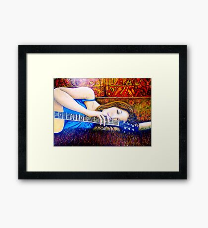 Guitar Girl in Landscape Framed Print