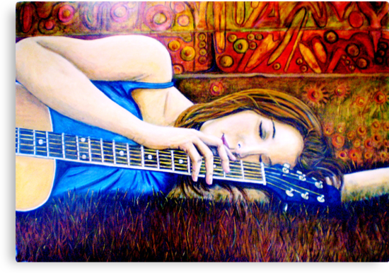 "Guitar Girl in Landscape by Belinda ""BillyLee"" NYE (Printmaker)"