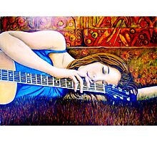 Guitar Girl in Landscape Photographic Print