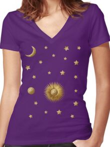 Sun, Moon and Stars Women's Fitted V-Neck T-Shirt