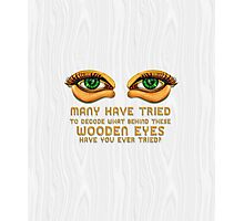 The Eyes ~ Wooden Green Eyes [White] Photographic Print