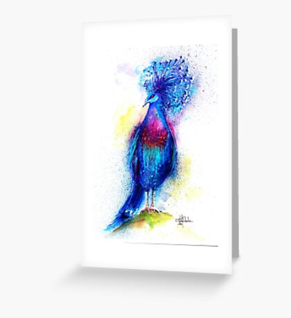 """Blue Crowned Pigeon"" Greeting Card"