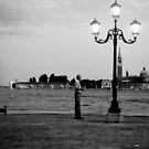 A dog and a man and a lamp post by oddoutlet