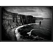 Ireland, Cliffs of Moher, County Clare. B&W treatment. Photographic Print