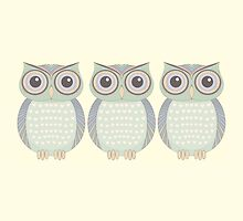 Cool Owl Trio by Jean Gregory  Evans