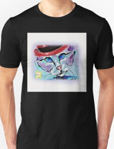Cat With A Red Hat - Animal Art by Valentina Miletic T-Shirt