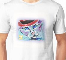 Cat With A Red Hat - Animal Art by Valentina Miletic Unisex T-Shirt