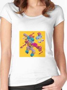 retro robot in style Women's Fitted Scoop T-Shirt