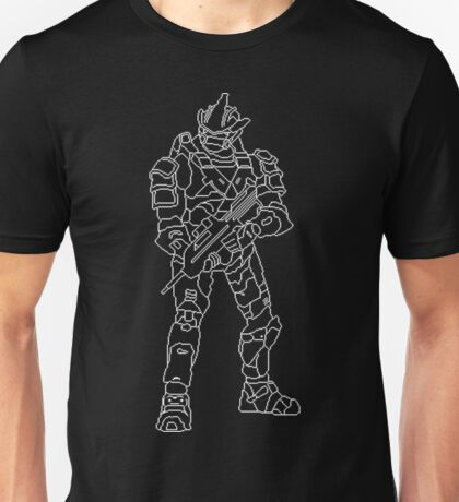 Spartan Pixel Art Halo 3 White Unisex T-Shirt