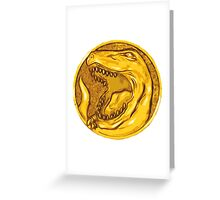 Mighty Morphin Power Rangers Red Ranger Tyrannosaurus Coin Greeting Card