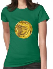 Mighty Morphin Power Rangers Red Ranger Tyrannosaurus Coin Womens Fitted T-Shirt