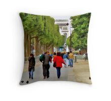 Stroll on the Champs Elysees Throw Pillow